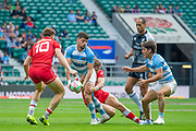 Twickenham, United Kingdom, 25th May 2019, HSBC London Sevens,  Action from the Pool A match, Argentina vs Canada, played at  the  RFU Stadium, Twickenham, England, <br /> © Peter SPURRIER: Intersport Images<br /> 11:13:24 25.05.19