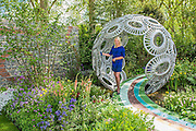Anika Rice on the Brewin Dolphin Forever Freefolk garden by Rosy Hardy - The opening day of th Chelsea Flower Show.