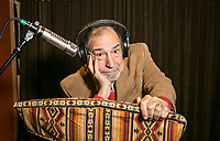 Dick Orkin, a longtime radio advertising professional who has had a storied, award winning career in his studio in Sherman Oaks, CA. December , 2013 Photo by David Sprague
