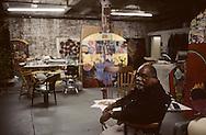 New York. Brooklyn. Juan Sanchez (US) , DUMBO area, artist studio in Brooklyn; Juan Sanchez (US) origin Porto Rico  New York  Usa /   Dumbo, atelier d'artistes à Brooklyn;  Juan Sanchez (US) d'origine portoricaine  New York  USa