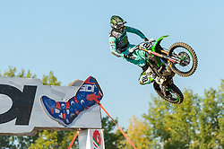 September 30, 2018 - Imola, BO, Italy - Clement DESALLE (BEL) jumps during first laps of Race 2 of MXGP italian round in Imola. (Credit Image: © Riccardo Righetti/ZUMA Wire)