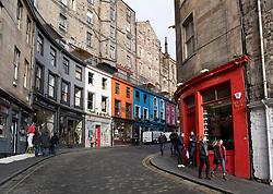 View of West Bow street at Grassmarket in Edinburgh Old town, Scotland, UK