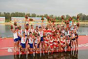 Shunyi, CHINA. GBR M8+,  Men's eights final, Gold medalist CAN M8+(b), LIGHT Kevin, RUTLEDGE Ben, BYRNES Andrew, WETZEL Jake<br /> HOWARD Malcolm, SEITERLE Dominic, KREEK Adam, HAMILTON Kyle and cox, PRICE Brian.  Bronze medlelist USA M8+, Bow, HOOPMAN Beau, SCHNOBRICH Matt, BOYD Micah, ALLEN Wyatt, WALSH Daniel, COPPOLA Steven<br /> INMAN Josh, VOLPENHEIN Bryan and cox Mc ELHENNEY Marcus. <br />  at the 2008 Olympic Regatta, Shunyi Rowing Course.  17/08/2008 [Mandatory Credit: Peter SPURRIER, Intersport Images
