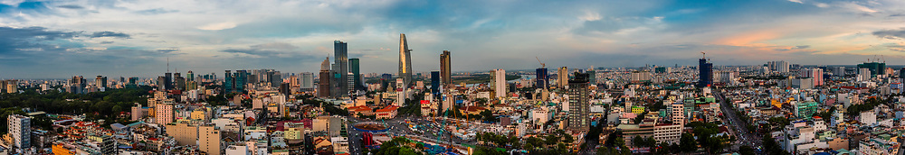 Panoramic view featuring in the middle the Bitexco Financial Tower, At 68 stories, it is the tallest building in HCMC and the third tallest in Vietnam). Central Financial District, Ho Chi Minh City, Vietnam.