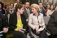 """14 JAN 2019, BERLIN/GERMANY:<br /> Annegret Kramp-Karrenbauer (L), CDU Bundesvorsitzende, und Ursula von der Leyen (R), CDU, Bundesverteidigungsministerin, im Gespraech, Veranstaltung der Konrad-Adenauer-Stiftung, KAS, """"Frauenpolitik - Auftrag fuer morgen!"""", Sheraton Hotel <br /> IMAGE: 20190114-01-006<br /> KEYWORDS: Gespräch"""