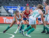 AMSTELVEEN - Anna Toman (Eng)  met Deirdre Duke (Ier)   tijdens de wedstrijd dames , Ierland-Engeland (1-5) bij het  EK hockey , Eurohockey 2021.COPYRIGHT KOEN SUYK