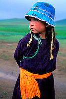 Mongolie, Province d'Arkanghaï, jeune fille nomade // Mongolia, Arkhangai province, young nomad girl