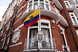 © Licensed to London News Pictures. 11/04/2019. London, UK. General view of the Ecuador Embassy. This morning Wikileaks founder Julian Assange was arrested by police and taken to a central London police station after living in the Ecuador Embassy in London since 2012. Photo credit : Tom Nicholson/LNP