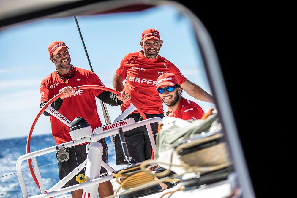 Leg 02, Lisbon to Cape Town, day 13, on board MAPFRE, Pablo Arrarte, Xabi Fernandez and Blair Tuke laughing. Photo by Ugo Fonolla/Volvo Ocean Race. 17 November, 2017