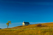 Kansas / Chase County / Tallgrass Prairie National Preserve / Flint Hills / Lower Fox Creek Schoolhouse / <br /> One Room Schoolhouse / Built In 1882 / Cottonwood Tree / Autumn