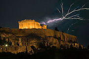 2006_Shocking_Athens.  The Parthenon in an electrical storm.