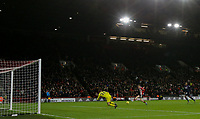 Sheffield United's Oliver McBurnie scores the opening goal <br /> <br /> Photographer Rich Linley/CameraSport<br /> <br /> The Premier League - Sheffield United v West Ham United - Friday 10th January 2020 - Bramall Lane - Sheffield <br /> <br /> World Copyright © 2020 CameraSport. All rights reserved. 43 Linden Ave. Countesthorpe. Leicester. England. LE8 5PG - Tel: +44 (0) 116 277 4147 - admin@camerasport.com - www.camerasport.com