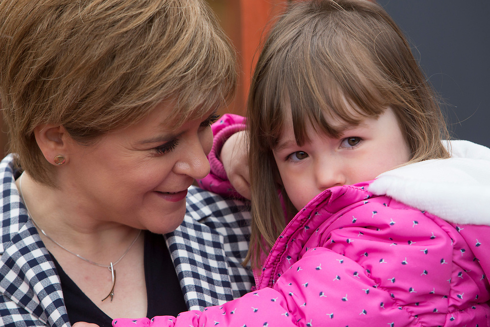 Monday1st Mayl 2017, Inch, Aberdeenshire, Scotland.<br /> SNP Leader Nicola Sturgeon will highlight the contrast between the SNP's investment in childcare and Tory cuts to child tax credits as she visits Dreams Daycare nursery in Insch, Aberdeenshire. <br /> <br /> Pictured: The First Minister Nicola Sturgeon with Neve Grant, 3 <br /> <br /> (Photo: Ross Johnston/Newsline Media)