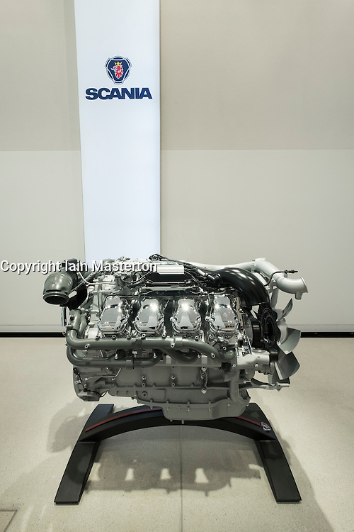 Modern truck engine by Scania on display at Volkswagen Drive Forum showroom in Berlin Germany