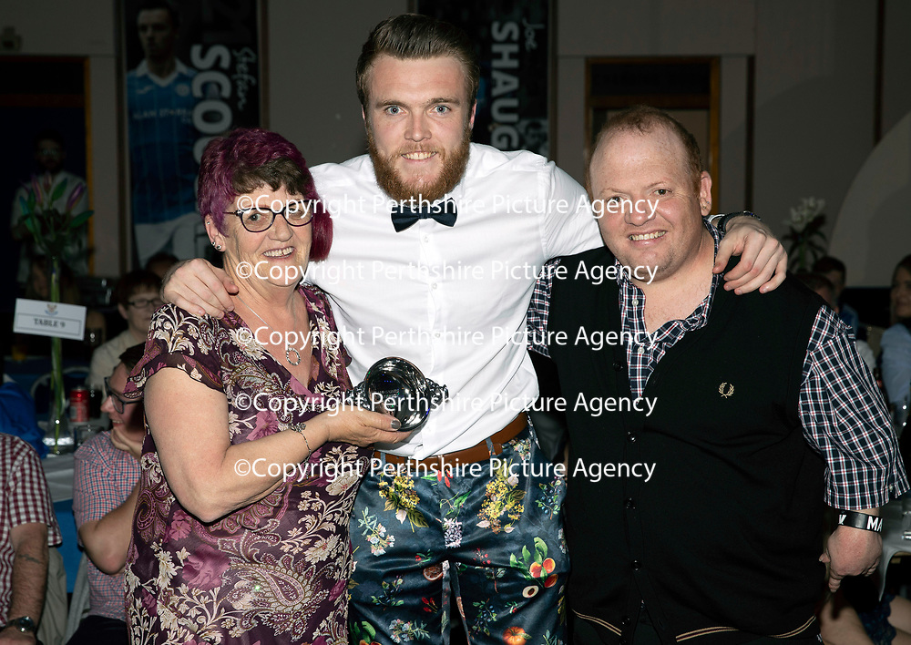 St Johnstone FC Player of the Year Awards 2017-18<br />Highland Saints Magic Moment of 2017-18 goes to Zander Clark for his save in the 1-1 draw at Ross County on27/12/17, presented by Rhoad and Raymond McKay<br />Picture by Graeme Hart.<br />Copyright Perthshire Picture Agency<br />Tel: 01738 623350  Mobile: 07990 594431