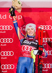 "Winner Mikaela Shiffrin (USA) celebrates at Trophy ceremony after 2nd Run of FIS Alpine Ski World Cup 2017/18 Ladies' Slalom race named ""Snow Queen Trophy 2018"", on January 3, 2018 in Course Crveni Spust at Sljeme hill, Zagreb, Croatia. Photo by Vid Ponikvar / Sportida"