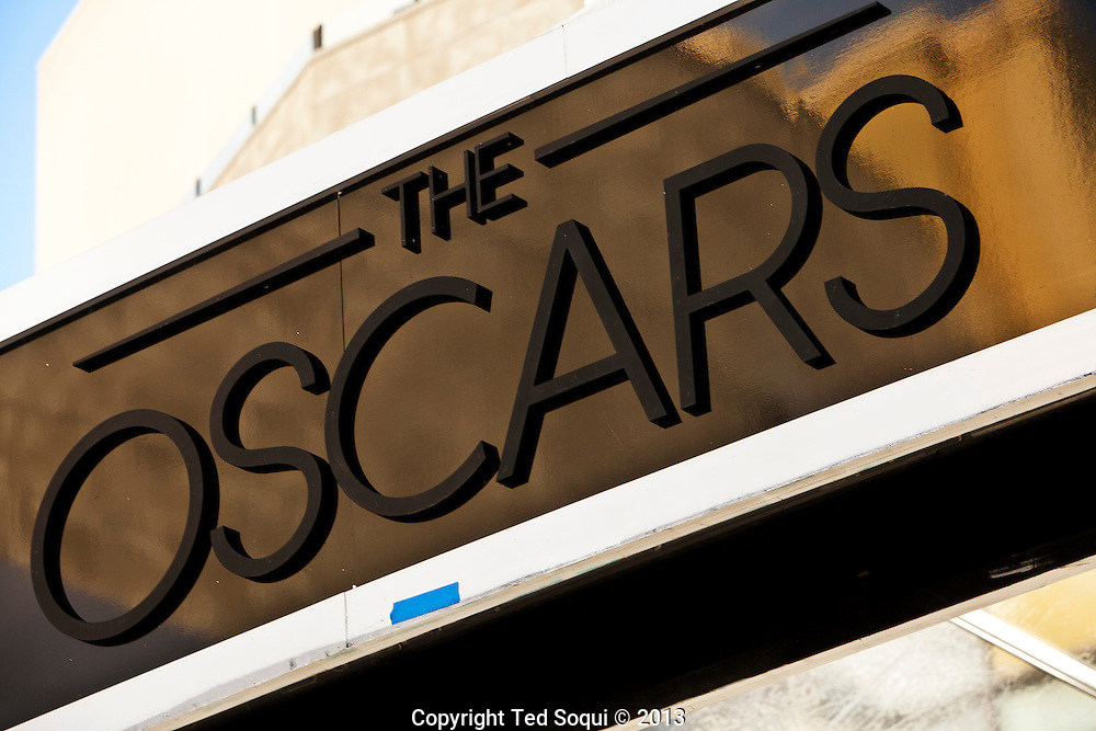 Preparations for the Academy Awards show begin on Hollywood Blvd. at Highland Ave.