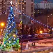 Новогодняя елка в парке Гагарина в Оренбурге вечером