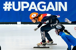 Netherlands with Suzanne Schulting in action on the 3000 meter relay during ISU World Cup Finals Shorttrack 2020 on February 14, 2020 in Optisport Sportboulevard Dordrecht.