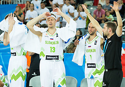 Miha Zupan of Slovenia, Nebojsa Joksimovic of Slovenia and Matej Likar  during basketball match between Slovenia vs Netherlands at Day 4 in Group C of FIBA Europe Eurobasket 2015, on September 8, 2015, in Arena Zagreb, Croatia. Photo by Vid Ponikvar / Sportida