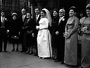 06/02/1964<br /> 02/06/1964<br /> 06 February 1964<br /> Wedding of Sean Manley and Eithne Lydon at University Church Dublin. pictures after the ceremony were Mr Sean Manley elder son of Mr and Mrs Tadhg Manley, St. Luke's Place, Cork and Miss Eithne Lydon (a Former actress with the Abbey Theatre and Taibhdheare na Gaillimhe) daughter of Mr and Mrs Thomas Lydon, Abnegate Street, Galway. The bridesmaids  were the Misses Aoife and Maeve Lydon, sisters of the bride and the groomsmen were Mr John Carty and Mr T.J. Mulcahy.
