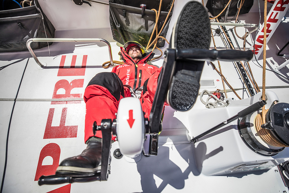 Leg 02, Lisbon to Cape Town, day 19, on board MAPFRE, Pablo Arrarte implementing America's Cup tecniques on the VOR 65. Photo by Ugo Fonolla/Volvo Ocean Race. 23 November, 2017.