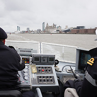 LIVERPOOL, UK, 23rd May, 2013. HMS Trumpeter heads out on the Mersey to greet HMS Bulwark and fleet as they arrive for the Battle of the Atlantic 70th anniversary celebrations.