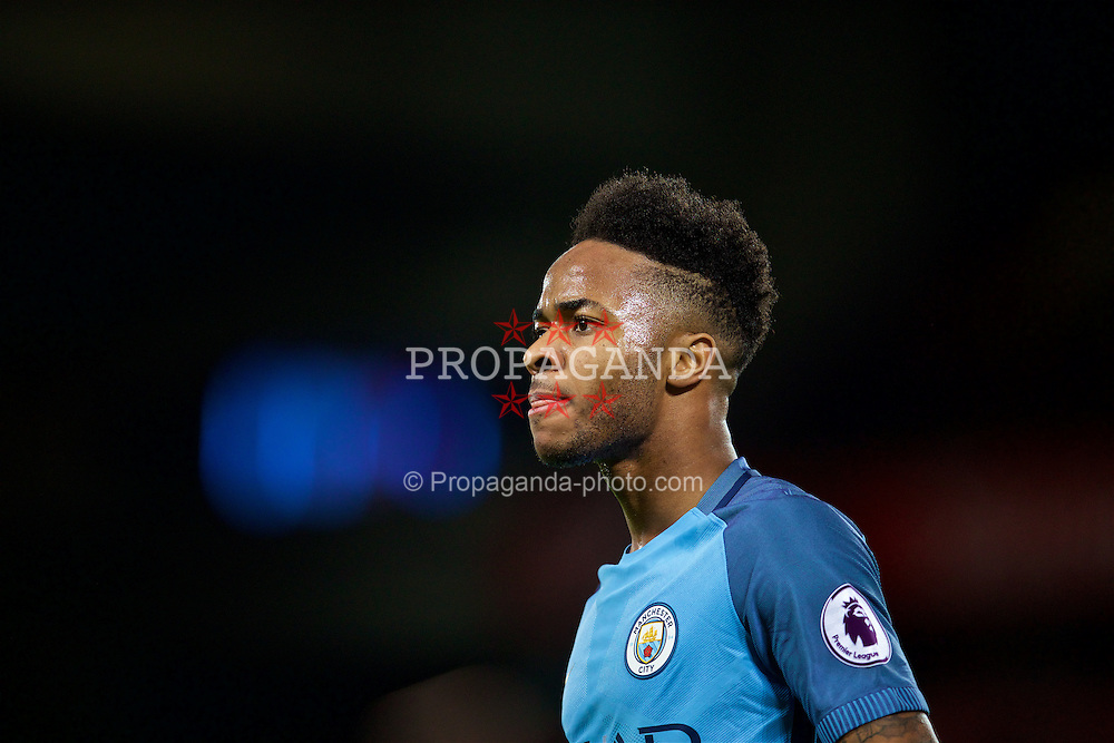 LIVERPOOL, ENGLAND - Saturday, December 31, 2016: Manchester City's Raheem Sterling argues with the assistant referee during the FA Premier League match against Liverpool at Anfield. (Pic by David Rawcliffe/Propaganda)