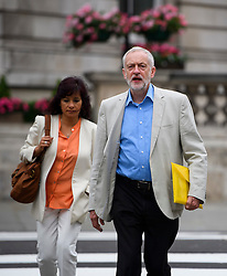 © Licensed to London News Pictures. 10/07/2016. London, UK. Labour Party Leader JEREMY CORBYN arrives at the BBC Broadcasting House in London with his wife LAURA ALVAREZ (left), to appear on the Andrew Marr Show on July 10, 2016.  Photo credit: Ben Cawthra/LNP