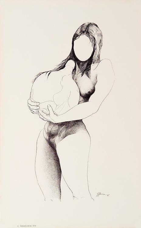 """Cat. #23 - Lithographic print of Pen and Ink drawing of a nude young woman carrying a bottle. Printed on smooth, heavy weight stock.<br /> Paper size is 10 x 16"""". Image size is approximately 7 x 13"""" <br /> Cat. #23 - Impresión litográfica de un dibujo a plumilla de una joven desnuda cargando una botella. Impreso en papel liso y pesado.<br /> Tamaño del papel es 10 x 16"""". Tamaño de la imagen es aproximadamente 7 x 13"""""""
