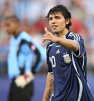 Fotball<br /> VM U20 - Canada<br /> 03.07.2007<br /> Foto: imago/Digitalsport<br /> NORWAY ONLY<br /> <br /> Argentina<br /> Torschütze Sergio Aguero (Argentinien U20) jubelt