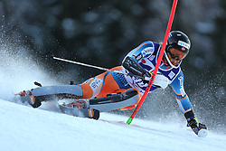 06.01.2014, Stelvio, Bormio, ITA, FIS Weltcup Ski Alpin, Bormio, Slalom, Herren, im Bild Leif Kristian Haugen // Leif Kristian Haugen  in action during mens Slalom of the Bormio FIS Ski World Cup at the Stelvio in Bormio, Italy on 2014/01/06. EXPA Pictures © 2014, PhotoCredit: EXPA/ Sammy Minkoff<br /> <br /> *****ATTENTION - OUT of GER*****