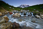 Edith Creek forms a small cascades at the base of Mount Rainier, the tallest volcano in Washington state.