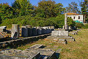Archaeological artifacts in the Agora in ancient Thasos, Thassos Island, Greece
