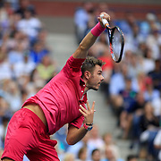2016 U.S. Open - Day 14  Stan Wawrinka of Switzerland in action against  Novak Djokovic of Serbia in the Men's Singles Final on Arthur Ashe Stadium on day fourteen of the 2016 US Open Tennis Tournament at the USTA Billie Jean King National Tennis Center on September 11, 2016 in Flushing, Queens, New York City.  (Photo by Tim Clayton/Corbis via Getty Images)