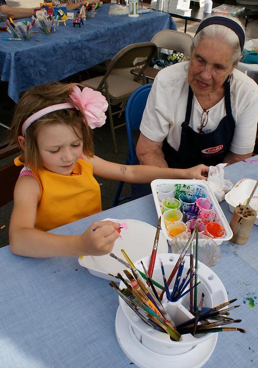 West Reading Summer Street Arts Festival, Girls Paints with Senior Artist, Berks Co., PA