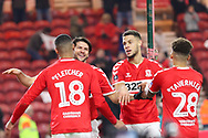 Middlesbrough defender George Friend (3) celebrates with Middlesbrough forward Ashley Fletcher (18) after scoring his team's second goal during The FA Cup 3rd round match between Middlesbrough and Peterborough United at the Riverside Stadium, Middlesbrough, England on 5 January 2019.