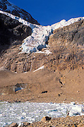 The Angel Glacier and icebergs on lake under Mount Edith Cavell, Jasper National Park, Alberta, Canada