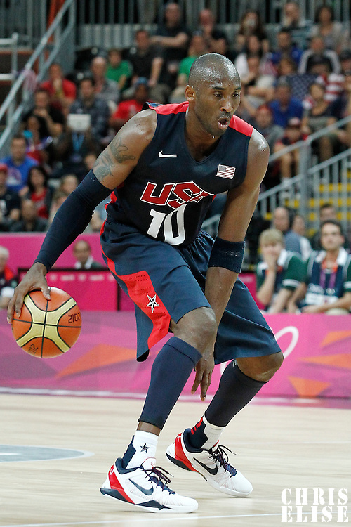 04 August 2012: USA Kobe Bryant dribbles during 99-94 Team USA victory over Team Lithuania, during the men's basketball preliminary, at the Basketball Arena, in London, Great Britain.