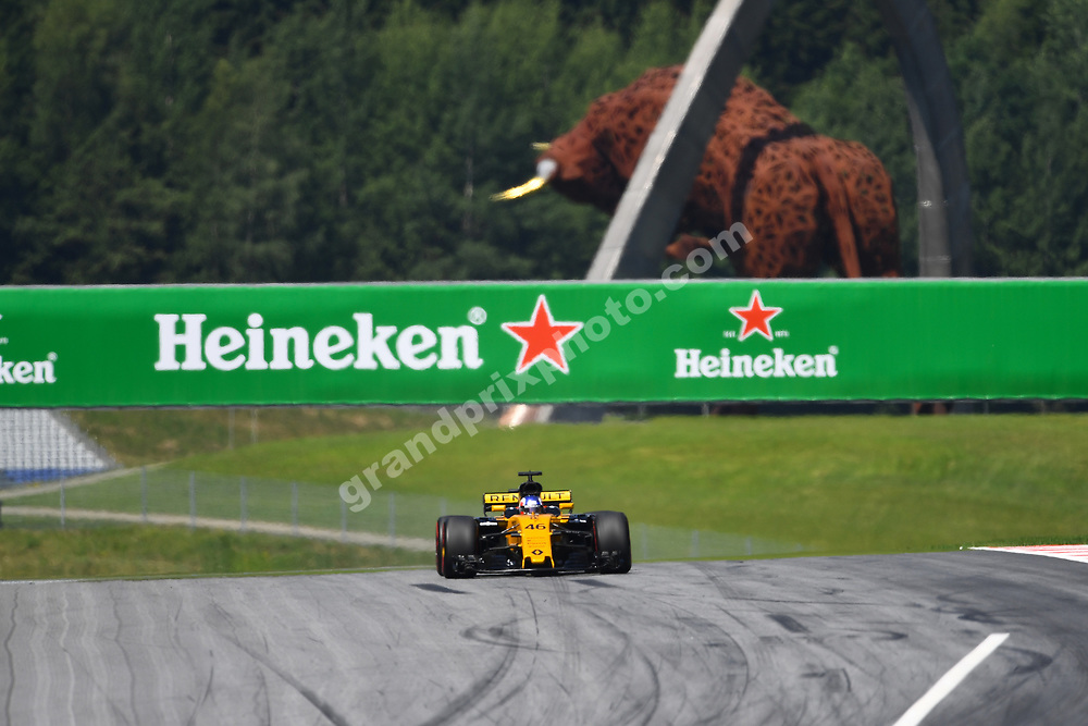 Sergey Sirotkin (Renault) in front of metal bull during practice for the 2017 Austrian Grand Prix at the Red Bull Ring in Spielberg. Photo: Grand Prix Photo