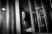 SALERNO (SA) - 4 FEBBRAIO 2018: Piero De Luca (Partito Democratico), figlio del governatore della Regione Campania Vincenzo De Luca e candidato nelle elezioni politiche del 2018 alla Camera dei Deputati, nel colleggio plurinominale di Caserta-Aversa e nel  collegio uninominale di Salerno, arriva al suo comitato elettorale per un incontro a porte chiuse con gli amministratori locali, a Salerno (SA) il 4 febbraio 2018.<br /> <br /> Le elezioni politiche italiane del 2018 per il rinnovo dei due rami del Parlamento – il Senato della Repubblica e la Camera dei deputati – si terranno domenica 4 marzo 2018. Si voterà per l'elezione dei 630 deputati e dei 315 senatori elettivi della XVIII legislatura. Il voto sarà regolamentato dalla legge elettorale italiana del 2017, soprannominata Rosatellum bis, che troverà la sua prima applicazione<br /> <br /> ###<br /> <br /> SALERNO, ITALY - 4 FEBRUARY 2018:  Piero De Luca (Democratic Party / Partito Democratico), son of the governor of the Campania region Vincenzo De Luca e running as a candidate in the Chamber of Deputies in the 2018 General Elections, arrives here at his celectoral committee where he will attend a meeting with local administrators, in Salerno, Italy, on February 4th 2018.<br /> <br /> The 2018 Italian general election is due to be held on 4 March 2018 after the Italian Parliament was dissolved by President Sergio Mattarella on 28 December 2017.<br /> Voters will elect the 630 members of the Chamber of Deputies and the 315 elective members of the Senate of the Republic for the 18th legislature of the Republic of Italy, since 1948.