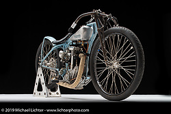 Billy Lane's L.A. Woman is a special machine and not simply because she is so rare (only 31 were built from 1932-1935). Speedway bikes, like the board track racers which preceded them, are the original skinny bikes. They were built to be light in weight, nimble in handling and narrow in profile to eliminate wind drag. Albert Crocker & Paul Bigsby built Crocker Speedway machines in Los Angeles, as an American answer to the dominant British J.A.P. speedway racers. Photographed by Michael Lichter in Sturgis, SD. July 31, 2019. ©2019 Michael Lichter