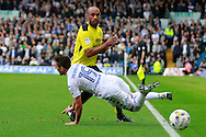 Burton's Chris O'Grady (8) and Leeds United's Pablo Hernandez (19) during the EFL Sky Bet Championship match between Leeds United and Burton Albion at Elland Road, Leeds, England on 29 October 2016. Photo by Richard Holmes.