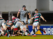Leicester Tigers scrum-half Richard Wigglesworth  puts up a kick during a Gallagher Premiership Round 7 Rugby Union match, Friday, Jan. 29, 2021, in Leicester, United Kingdom. (Steve Flynn/Image of Sport)
