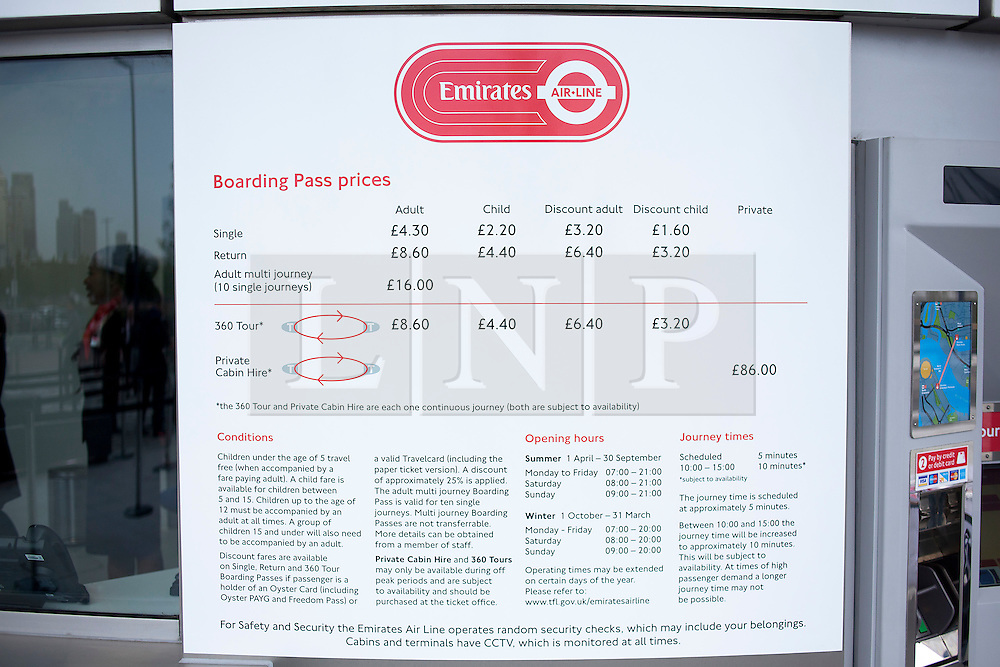 © Licensed to London News Pictures. 28/06/2012. LONDON, UK. A sign showing prices and opening times is seen at the Greenwich Peninsula Emirates Air-Line terminal in East London today (28/06/12) at the launch of London's first cable car system. The new cable car system, running across the River Thames between the Greenwich Peninsula and the Royal Docks in East London, was today opened to the public, despite fears that it would not be ready in time for the London 2012 Olympics. Photo credit: Matt Cetti-Roberts/LNP