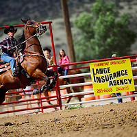 081713  Adron Gardner/Independent<br /> <br /> The horse of Sheri Estrada rises up on it's hind legs before the pair rode to a 16.640 time during day one of the Leo Mitchell Jr. Memorial 4D Barrel Race at the Grants Rodeo grounds in Grants Saturday.