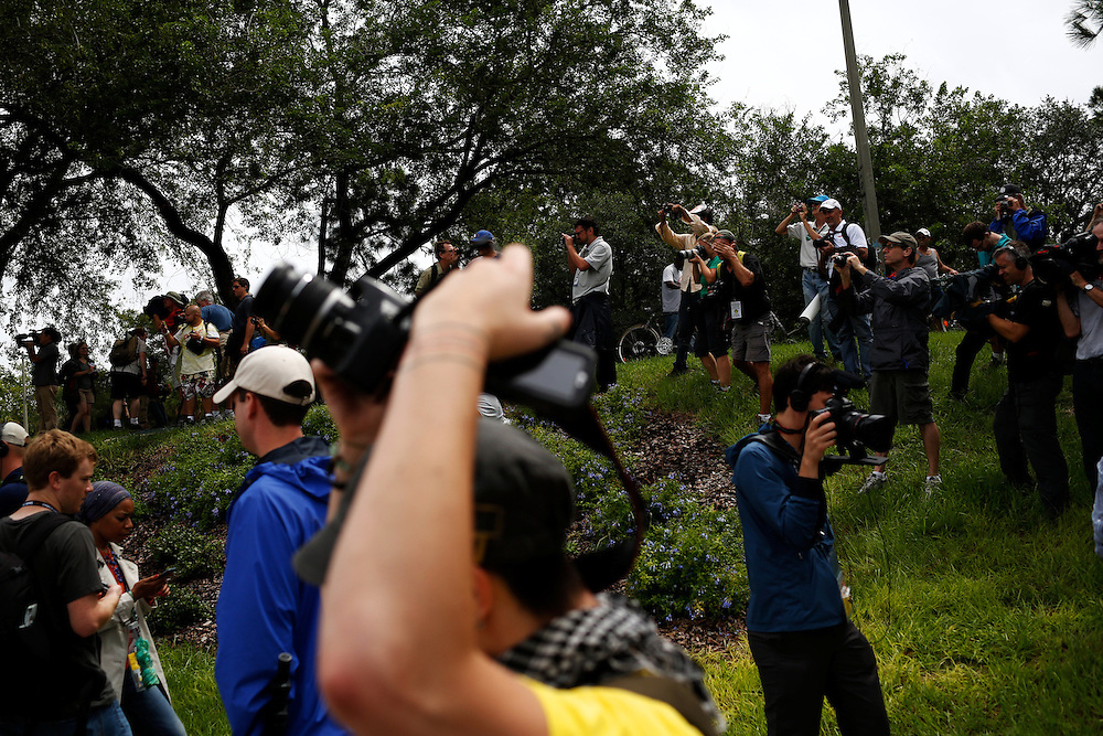 Members of the media surround a march during the 2012 Republican National Convention on August 27, 2012 in Tampa, Fla.