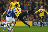 Camilo Zuniga of Watford looks to control the ball.  Premier league match, Watford v Everton at Vicarage Road in Watford, London on Saturday 10th December 2016.<br /> pic by John Patrick Fletcher, Andrew Orchard sports photography.