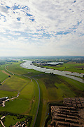 Nederland, Gelderland, Gemeente Westervoort, 03-10-2010; Rivier de Rijn, Hondsbroeksche Pleij, IJsselkop (rechts). In de uiterwaard is in het kader van Ruimte voor de Rivier de dijk landinwaarts verlegd, rechts van de dijk de hoogwatergeul voor de Rijn. In het midden het regelwerk, onder in beeld  beeld grondwerk..Head of the IJssel, river Rhine. Room for the River: in the floodplain the dike has moved inland, creating a flood channel (right of the new dike). In the middle the control works that will regulate the distribution of water..luchtfoto (toeslag), aerial photo (additional fee required).foto/photo Siebe Swart