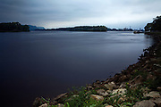 The Mississippi River is calm in the early hours of the morning in La Crosse, WI, USA.